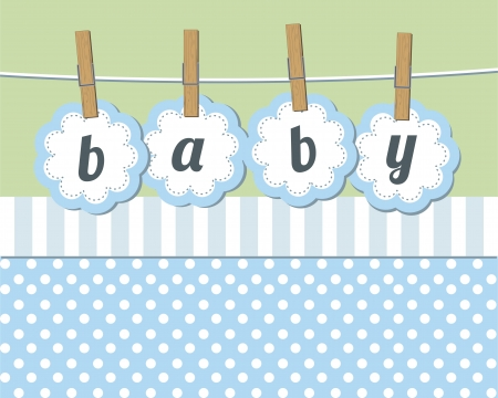 Baby boy arrival announcement card  Çizim