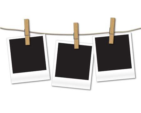 hanging sign: Blank photos hanging on rope