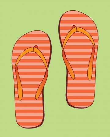 flip flop: Flip flops with orange stripes