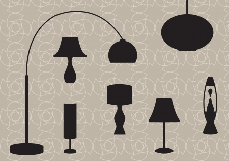 Retro lamp silhouettes Vector