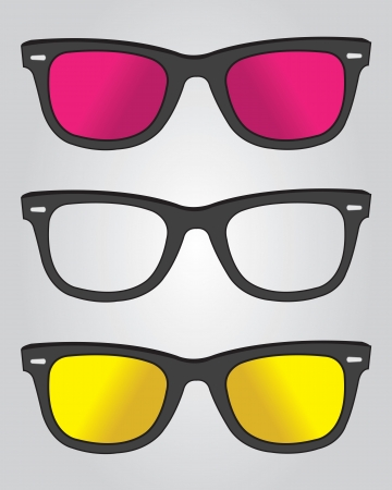 Set of retro black sunglasses Vector