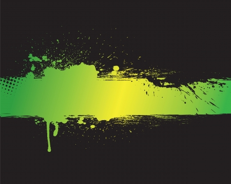 ink spill: Green grunge banner with black background
