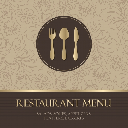 Restaurant menu, with gold details Çizim