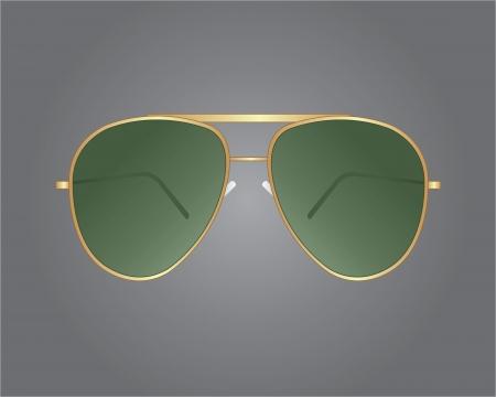sunglasses reflection: Retro gold sunglasses Illustration