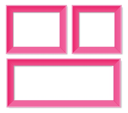 Set of pink photo frames