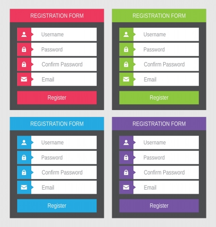registration: Registration form, flat design