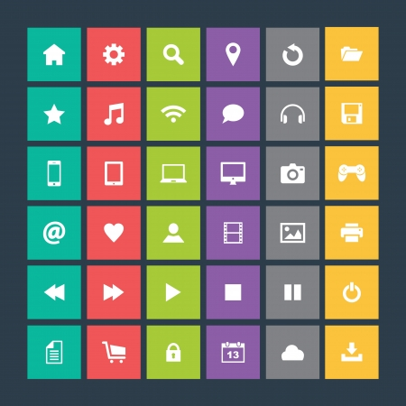 Set of colorful icons, flat design Stock Vector - 21702150