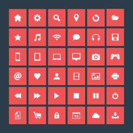 Set of icons, flat design Vector