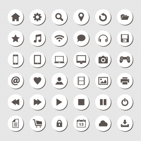 home button: Set of round icons, flat design Illustration