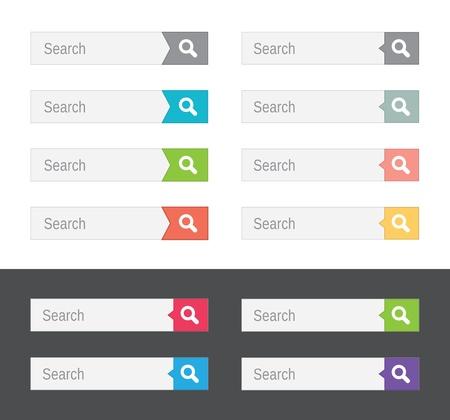Set van search bars, platte web design elementen Vector Illustratie