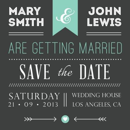 düğün: Ilân veya daveti için Vintage kart,