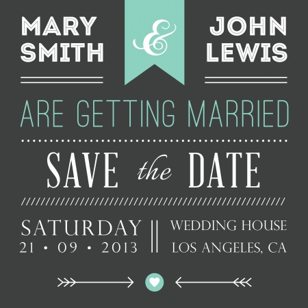 wedding: Vintage card, for invitation or announcement