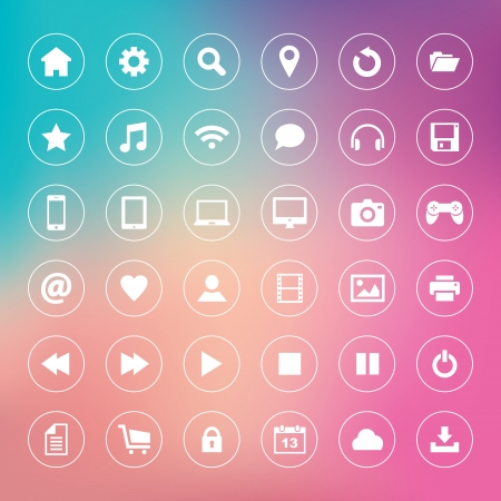 Set of icons on colorful background Stock Vector - 22114895
