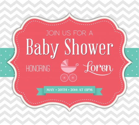 girl: Baby Shower Invitation Illustration