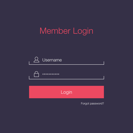 submit: Clean Member Login Design Illustration