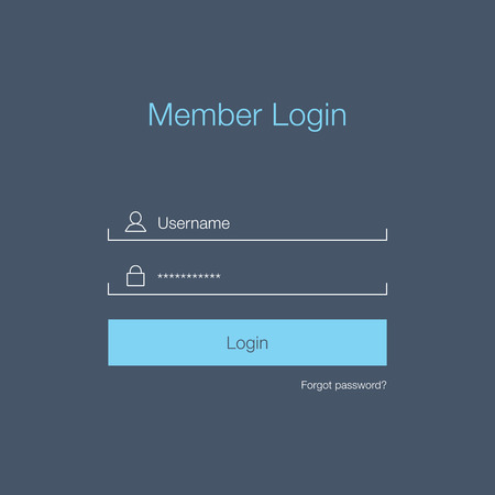 Clean Member Login Design Çizim