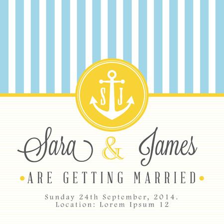 Nautical wedding invitation card Vector