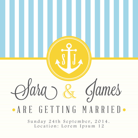 Nautical wedding invitation card Vector