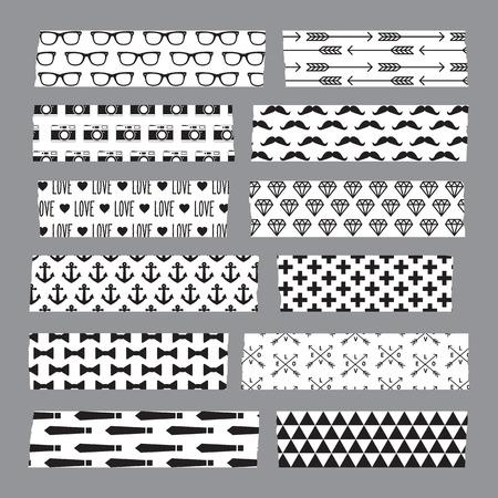 Set of hipster patterned washi tape stripes
