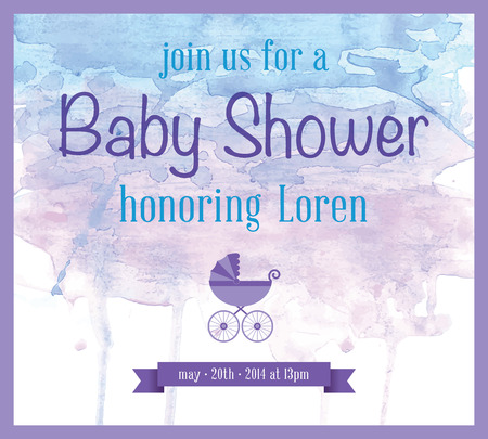 Baby Shower Watercolor Invitation Vector