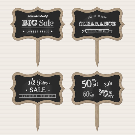 Wooden Chalk Sale Signs Vector