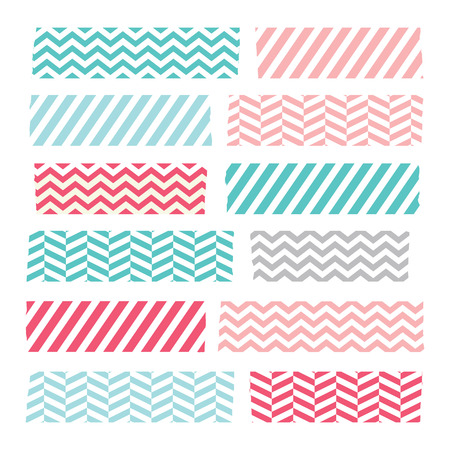 Set of colorful patterned washi tape stripes Illustration