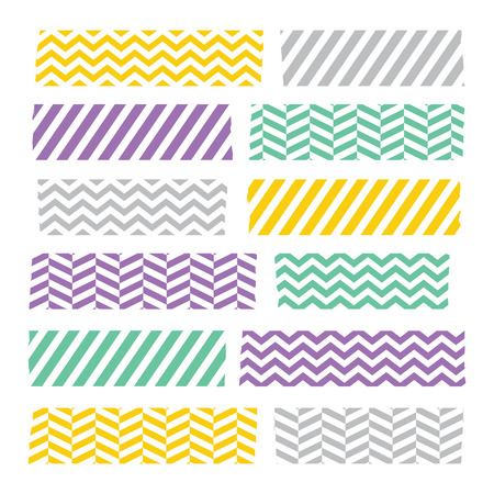 Set of colorful patterned washi tape stripes Vector