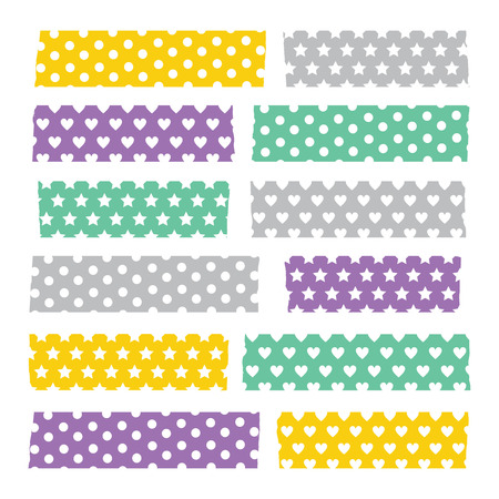Set of colorful patterned washi tape stripes Ilustracja