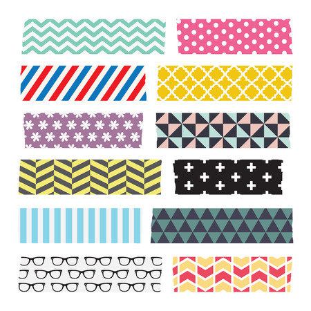 Set of colourful patterned washi tape strips Çizim
