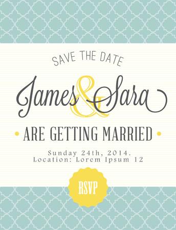 anniversario matrimonio: Scheda dell'annata, per invito o annuncio Vettoriali