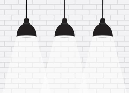 Pared de ladrillo blanco con lámparas Ilustración de vector