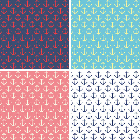 Set of anchor pattern backgrounds Ilustracja