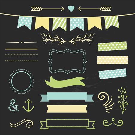 chalkboard: Set of design elements on chalkboard Illustration