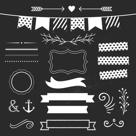 Set of design elements on chalkboard Vector