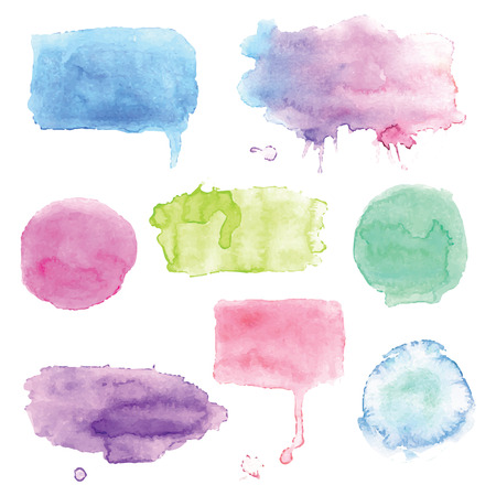 Set of watercolor splashes vector Çizim