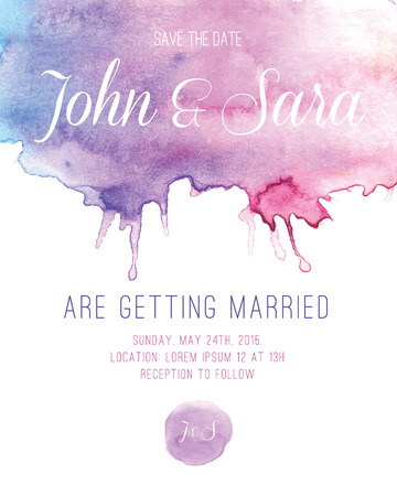 vintage invitation: Watercolor Wedding Invitation Card