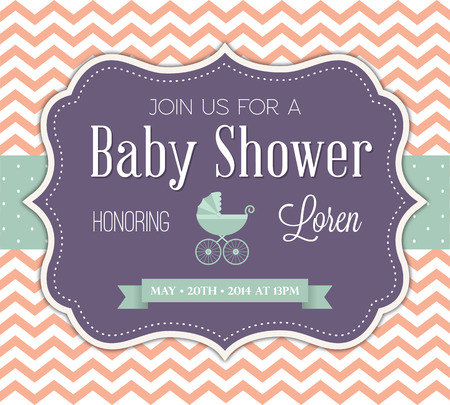 baby birth: Baby Shower Invitation Illustration
