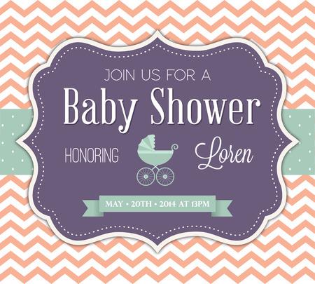 invitacion baby shower: Invitación de la ducha del bebé Vectores