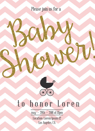 Baby shower invitation with golden detail. Stock Photo