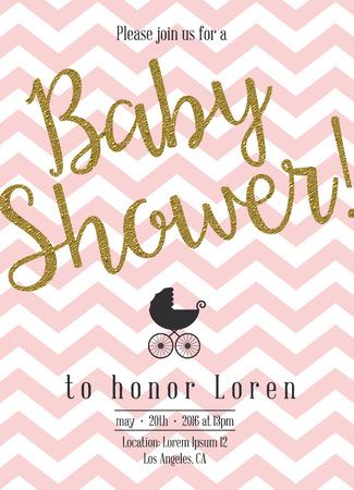 bebês: Convite do chá de bebê com detalhe dourado Ilustração