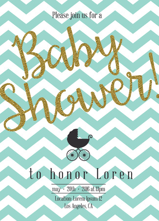 嬰兒: 嬰兒沐浴邀請金色細節 向量圖像