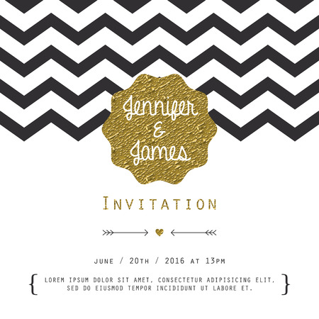 Modern card, for invitation or announcement with golden details.