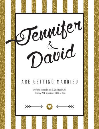 verlobung: Moderne Karte für Einladung oder Mitteilung mit goldenen Details. Illustration