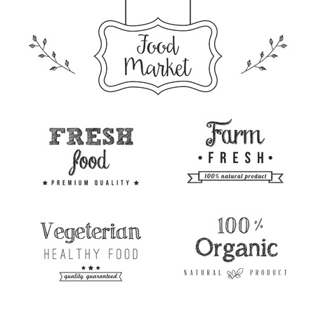 Set of food design elements on the chalkboard background