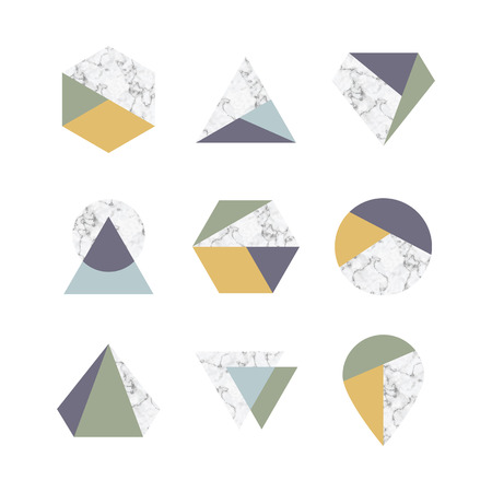Set of icons, geometric with marble texture