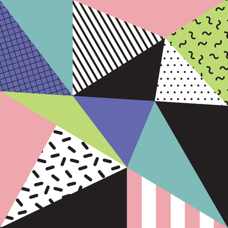 80s: Retro memphis style background, 80s, 90s Illustration