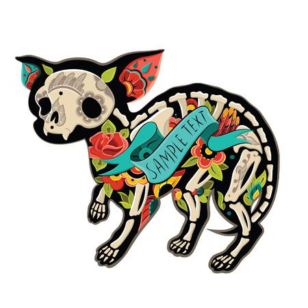 Wenskaart met hond chihuahua, skeletten met bloemmotieven. Colorfull chihuahua. Vector illustratie