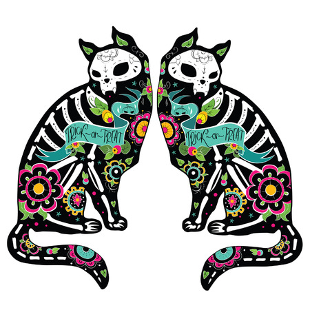 horror: Greeting card with cats, skeletons with floral patterns. Colorfull cats. Vector illustration