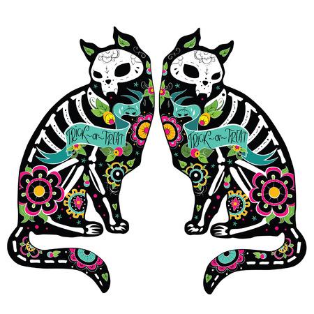 dia de muertos: Tarjeta de felicitación con los gatos, los esqueletos con motivos florales. Gatos Colorfull. Ilustración vectorial Vectores