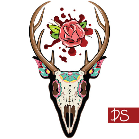 blood sugar: Deer Zucchero messicana Skull. Deer Skull. Illustrazione vettoriale